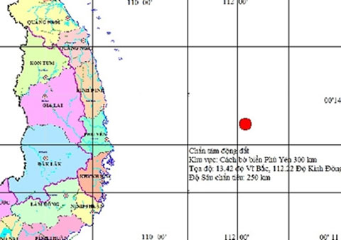 Còn động đất đến 6,8 độ Richter ngoài khơi VN