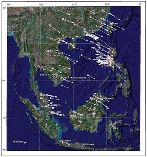Còn động đất đến 6,8 độ Richter ngoài khơi VN Bản đồ tốc độ chuyển dịch kiến tạo hiện đại khu vực Biển Đông và lân cận. (Ảnh: Phan Trọng Trịnh, Kết quả đề tài trọng điểm cấp nhà nước KC09.11/06-10)