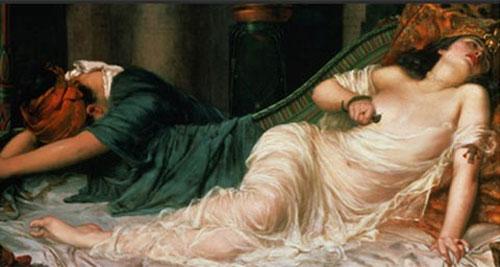 Nữ hoàng Cleopatra tự sát bằng cách cho rắn độc cắn