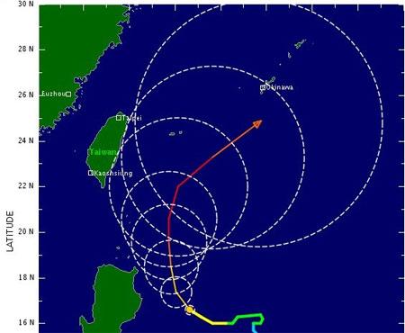 Đường di chuyển dự kiến của siêu bão Nanmadol. (Đồ họa: Whatsonxiamen)