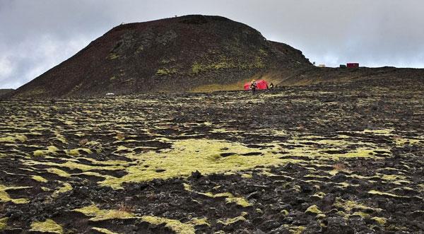 Cảnh quan bên ngoài núi lửa Thrihnukagigur