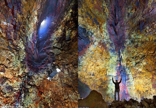 Nhiếp ảnh gia Lurie Belegurschi đã dũng cảm sử dụng một chiếc giỏ đặc biệt để xuống sâu trong lòng núi lửa Thrihnukagigur (trái). Lurie Belegurschi chụp ảnh trong lòng núi lửa Thrihnukagigur với nền là những bức tường đá nhiều màu sắc tuyệt đẹp (phải).