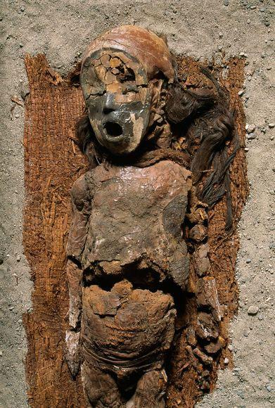 Xác ướp một cậu bé có mặt nạ được chôn trên tấm dệt làm bằng cây lau sậy