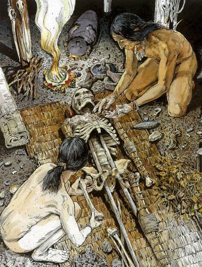 Cảnh mô tả người Chinchorro dùng lau sậy, tro dán để gia cố các xương, khớp của người chết và làm da giả bằng vải.