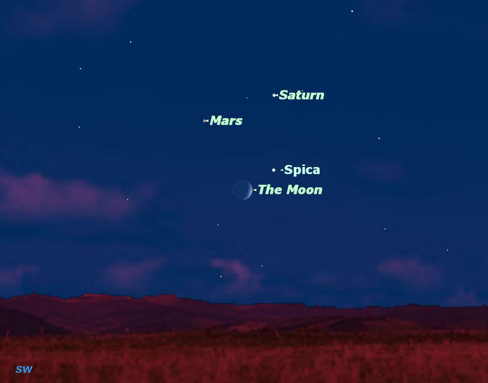 """Mặt trăng cũng """"nhập cuộc"""" cùng bộ 3 thiên thể trong cuộc trình diễn đêm 21/8."""
