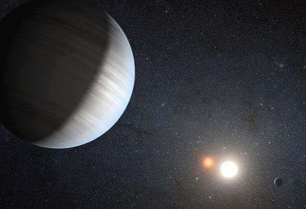Hình minh họa một hành tinh xoay quanh hai ngôi sao.