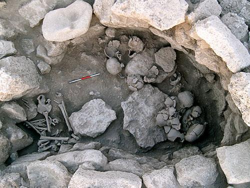 Khu vực khai quật xương cốt