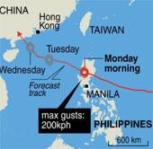 Siêu bão Utor đổ bộ Philippines, 1 người chết, 23 người mất tích