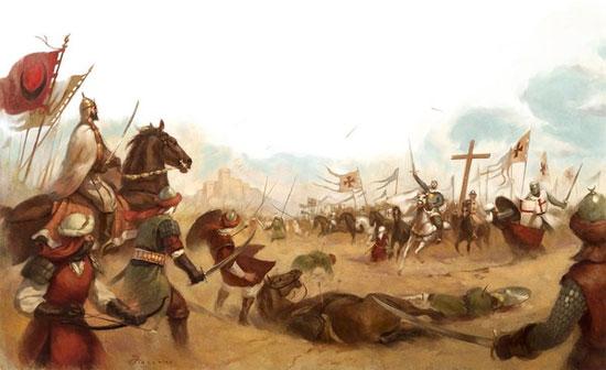 ...và đụng độ vua Baldwin IV cùng các hiệp sĩ dòng đền tại Mons Gisardi