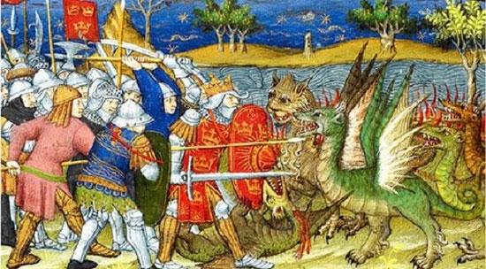 Bức tranh miêu tả về cuộc chạm trán giữa rồng và loài người