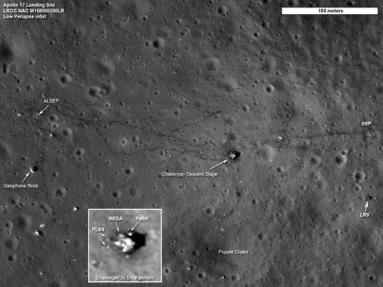 Dấu tích của con người hiện rõ trên mặt trăng