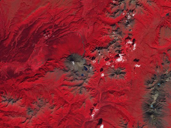 Những làn khói trắng bốc lên từ núi lửa Kizimen trên bán đảo Kamchatka của Nga. Những khu vực có cây cối được tô màu đỏ để người xem có thể nhìn rõ vị trí của những cột khói. (Ảnh: NASA)