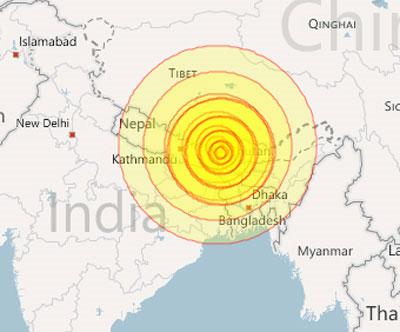 Hình vẽ mô tả địa điểm nơi trận động đất xảy ra và độ lớn của nó. (Đồ họa: Myforecast)