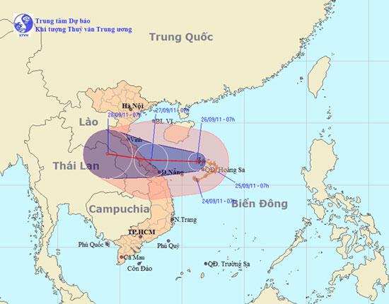 Đường đi bão số 4 thay đổi, tâm bão vào ven biển Hà Tĩnh - Đà Nẵng