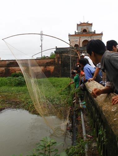Nhiều người dân tại cửa thành Đông Ba tranh thủ đi kéo vó bắt cá.