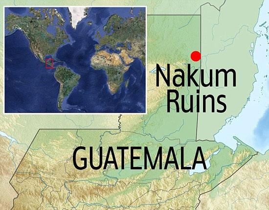 Vị trí khu phế tích Nakum, nơi phát hiện thấy hai ngôi mộ.