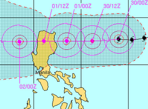 Dự báo hướng di chuyển của bão Nalgae. (Đồ họa: Navy.mil)