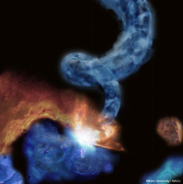 """Hình ảnh đám mây phân tử giống với """"đuôi lợn"""" do các nhà khoa học Nhật Bản chụp được ở trung tâm dải ngân hà."""
