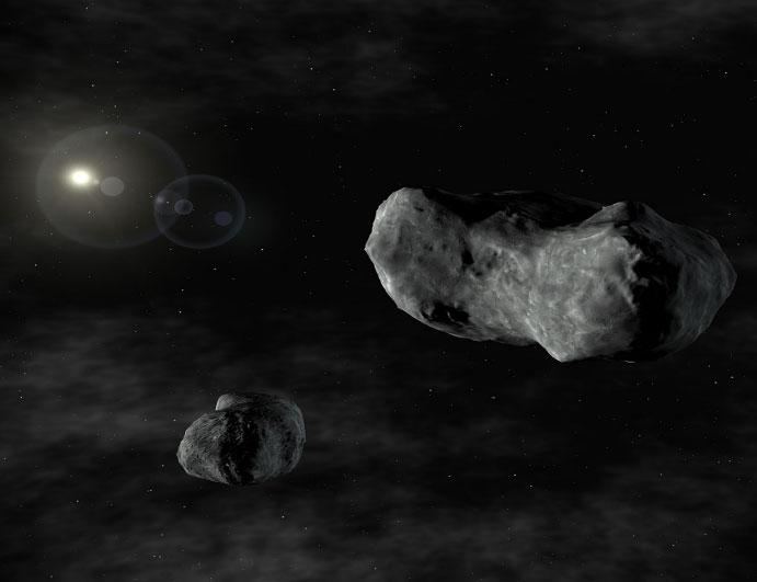 Hình minh họa hai thiên thạch trong hệ Mặt Trời.