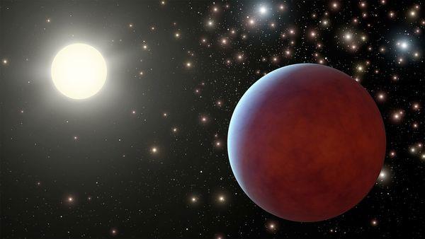 Hình minh họa một hành tinh khí khổng lồ xoay quanh ngôi sao riêng của nó trong chòm sao Cự Giải.