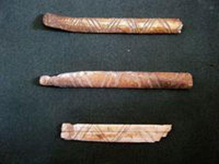 Những chiếc xương với đường nét chạm khắc được tìm thấy ở Cueva del Maguey. (Ảnh: INAH)