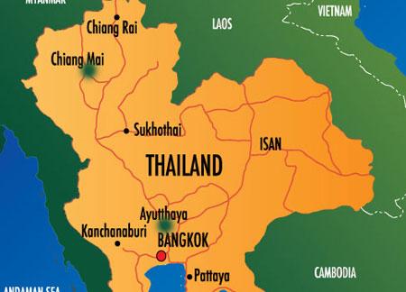 Ayutthaya và Chiang Mai (chấm màu xanh) là hai thành phố chịu ảnh hưởng nặng của lũ lụt. (Đồ họa: poleshift)