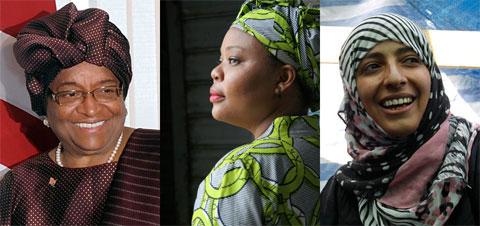 Từ trái qua: Sirleaf, Gbowee và Karman.