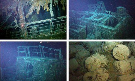 Các bức ảnh chụp được từ xác tàu Mantola.