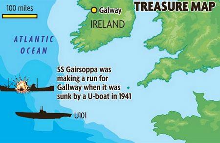 Mantola nằm cách vị trí của xác tàu Gairsoppa, bị chìm năm 1941, khoảng 160km.