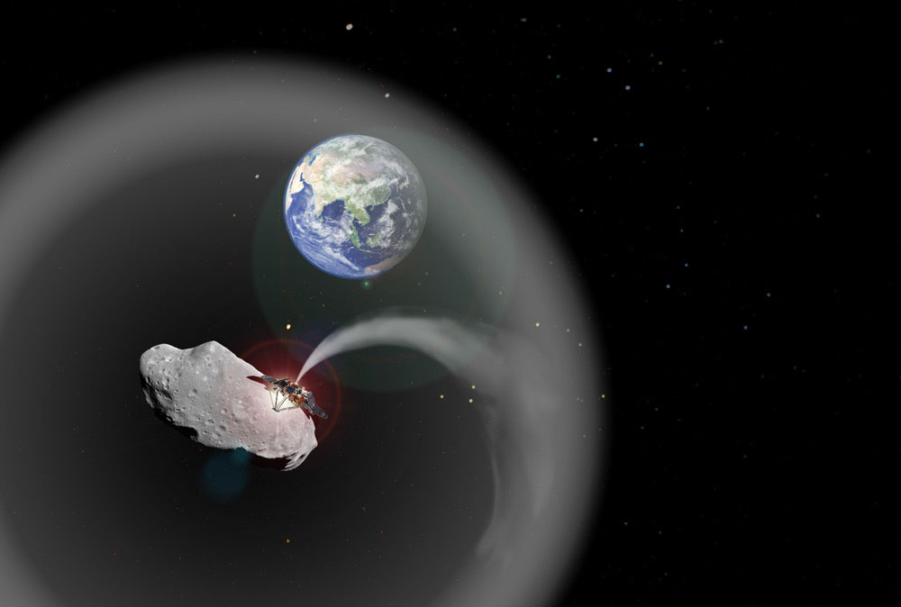 Hình minh hoạ đám mây bụi bao quanh Trái Đất chắn bức xạ nhiệt Mặt Trời