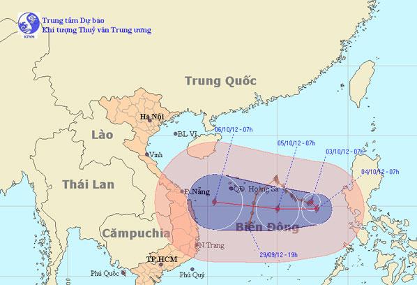 Bão số 7 cách quần đảo Hoàng Sa khoảng 570km