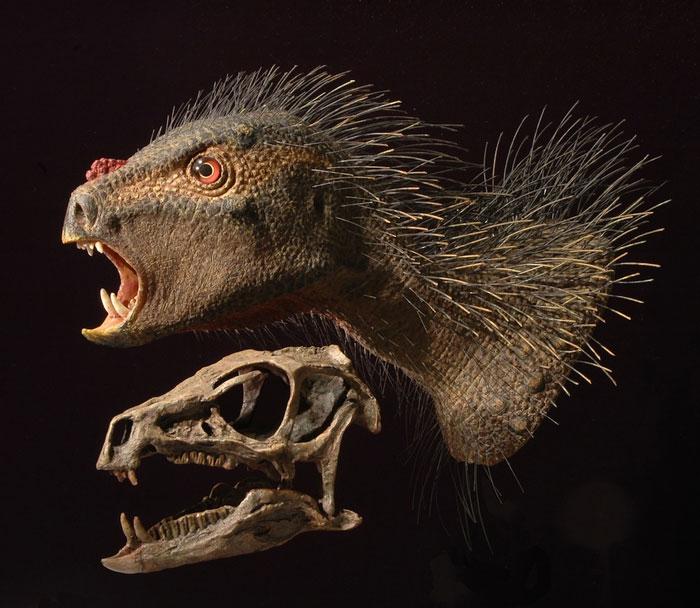 """Hình minh họa đầu và cổ của khủng long """"ma cà rồng"""" được tái hiện từ xương sọ."""