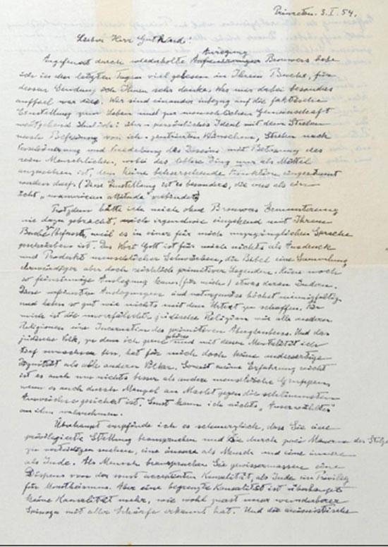 Lá thư của nhà vật lý Einstein gửi nhà triết học Eric B. Gutkind được đề ngày 3/1/1954.