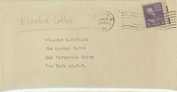Phong bì chứa lá thư mà Einstein gửi Gutkin.