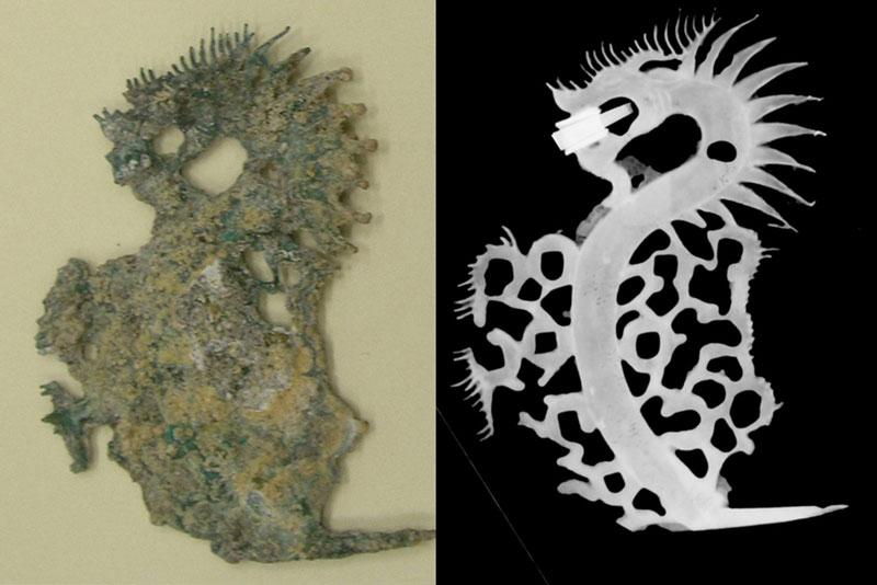 Các nhà khoa học đã xác định được hình ảnh của cây tiền (hình rồng bên phải) nhờ sử dụng kĩ thuật X-radiography.