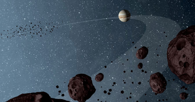 Sao Mộc nằm giữa hai nhóm tiểu hành tinh