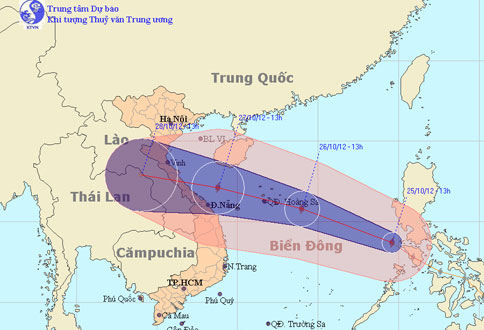 Bão Sơn Tinh trở thành cơn bão số 8 tại Biển Đông