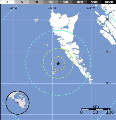 Bản đồ cho thấy tâm chấn và tầm ảnh hưởng của trận động đất.