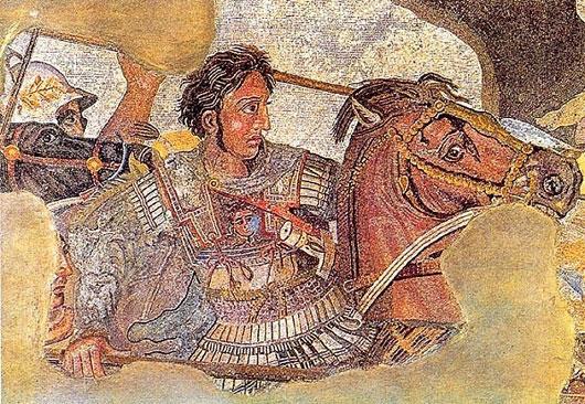 Chân dung Alexander dẫn quân đi chinh phạt Ba Tư được thêu trên một tấm thảm