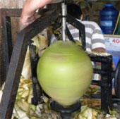 """Chàng miệt vườn chế máy """"siêu"""" gọt dừa"""