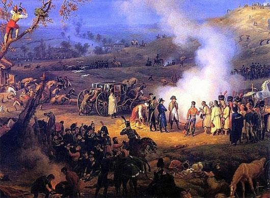 Napoleon và các thống chế của mình đang bàn luận chiến thuật đánh địch