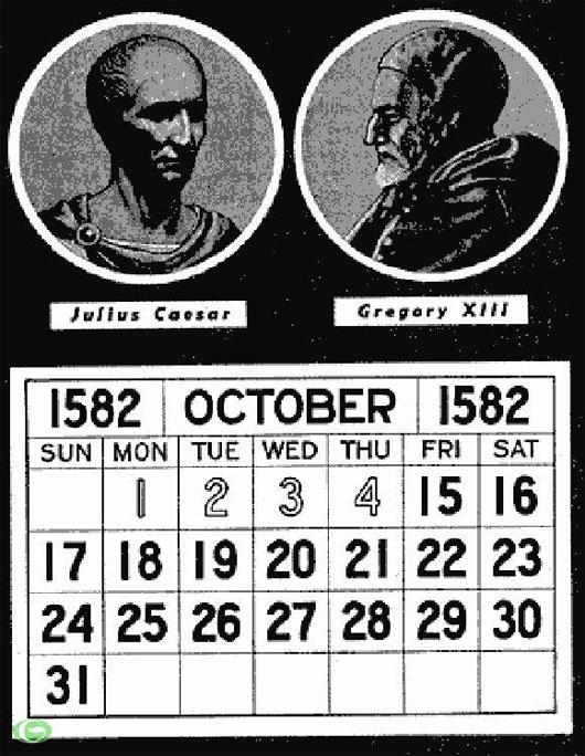 Lịch tháng 10 năm 1582 có 10 ngày không tồn tại