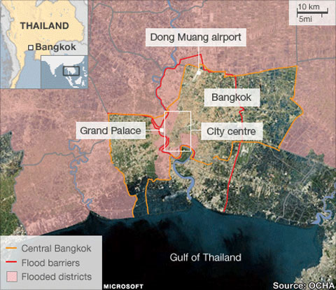 Nước lụt tiến sâu vào Bangkok