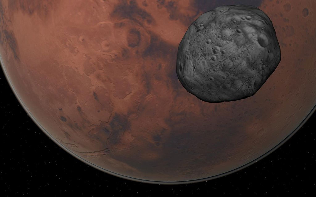 Hình minh họa sao Hỏa và vệ tinh Phobos.