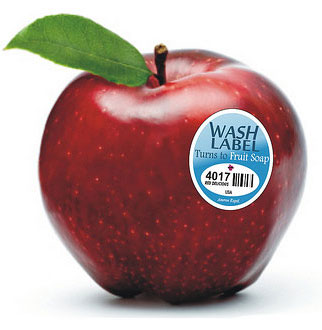 Tem dán Fruitwash hoà tan trong nước giúp loại bỏ các hoá chất độc hại trong trái cây (Ảnh: Gizmag)