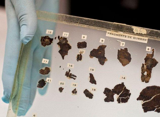 Các nhà nghiên cứu tập trung vào vật liệu của cuộn sách tìm thấy ở Qumran. (Nguồn: Daily Mail)