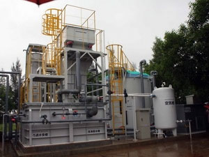 """Mô hình trình diễn thiết bị xử lý nước thải với chi phí thấp"""" được xây dựng tại trạm xử lý nước thải Phú Lộc."""