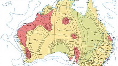 Một bản đồ nguy cơ động đất ở Úc
