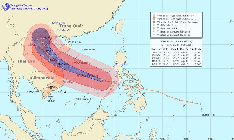 24 giờ tới, tâm của siêu bão Haiyan vào vùng biển Huế-Bình Định