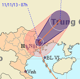 Bão Haiyan suy yếu dần và đi sang Trung Quốc